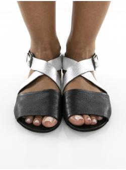 Sandale negre din piele naturala Twist Meekee