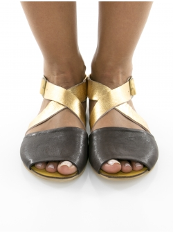 Black and gold leather sandals Twist Meekee