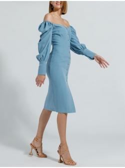 Cold shoulders blue midi dress Ramelle