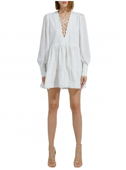 White midi cotton dress with long sleeves Ramelle