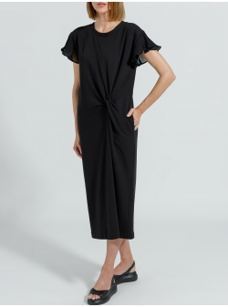 Black midi cotton dress with pockets Ramelle