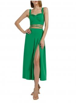 Green midi skirt with cut Ramelle