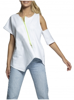 Left half cotton t-shirt wit cut Morphing Dose