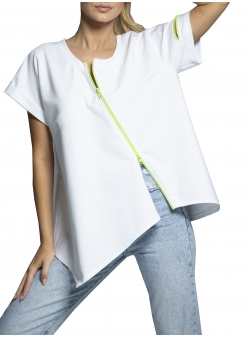 Left side cotton half t-shirt with contrasting zip Morphing Dose