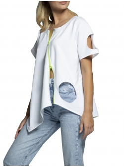 Left cotton t-shirt half with cuts Morphing Dose