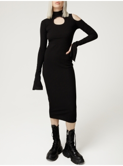Black knitted dress with cuts Spice Parlor