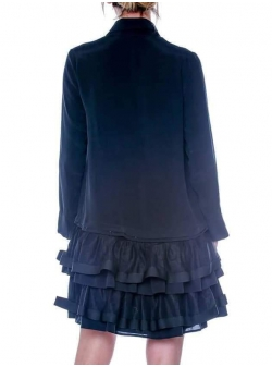 Black cotton dress with tulle frills Double You