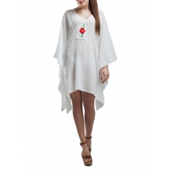 V-Neck Caftan Dress With Handmade Embroidery