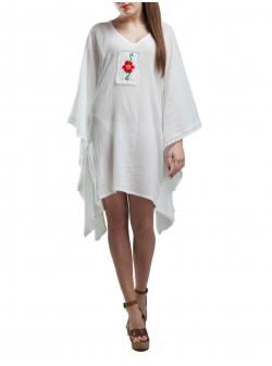 V-Neck Caftan Dress With Handmade Embroidery
