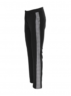 Pantaloni negri cu insertie de carouri Larisa Dragna