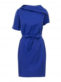 Rochie albastra cu guler asimetric Larisa Dragna