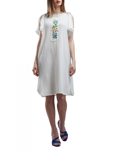 White Cotton Dress With Split Shoulders
