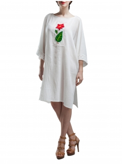Loose Fit Cotton Dress With Handmade Embroidery