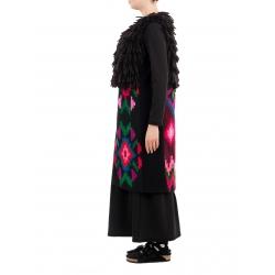 Vesta neagra din lana cu motive traditionale Nicoleta Obis