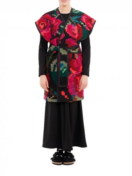 Vesta lunga din lana cu motive florale