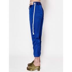 Pantaloni albastri din satin Chic Utility
