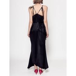 Rochie neagra din satin cu bretele