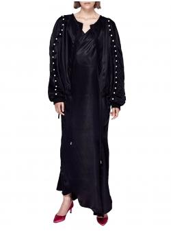 Bluza din satin negru cu margele Chic Utility