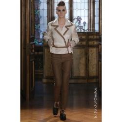 Pantaloni maro din piele sintetica