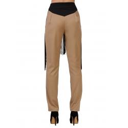 Pantaloni bej cu franjuri Florentina Giol