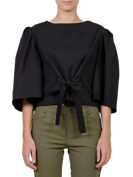 Bluza neagra cu maneci supradimensionate si cordon