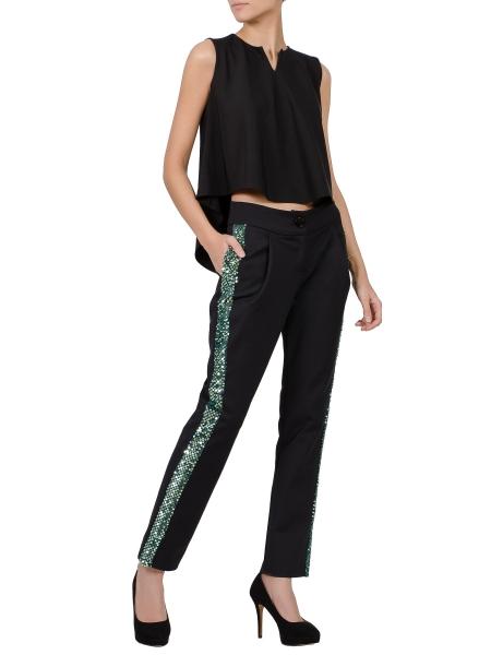 Pantaloni negri cu vipusca din paiete Florentina Giol