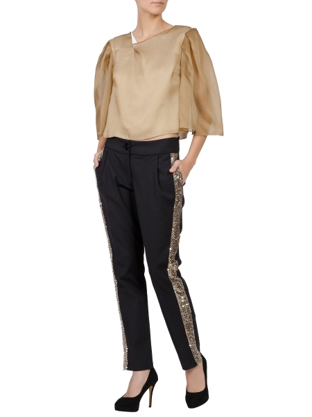 Black Viscose Trousers With Brown Sequins Piping
