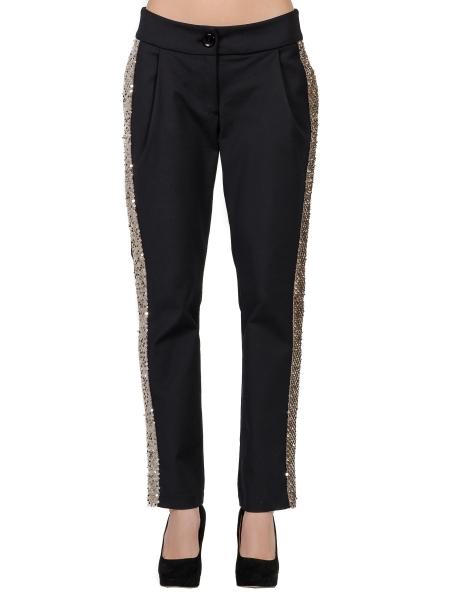Pantaloni negri cu vipusca aurie din paiete