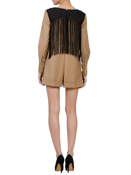 Brown Short Jumpsuit With Fringes