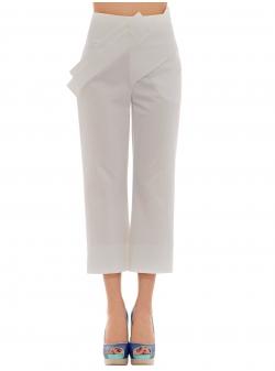 Pantaloni albi midi cu aplicatii Florentina Giol