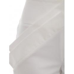 Pantaloni albi midi cu aplicatii