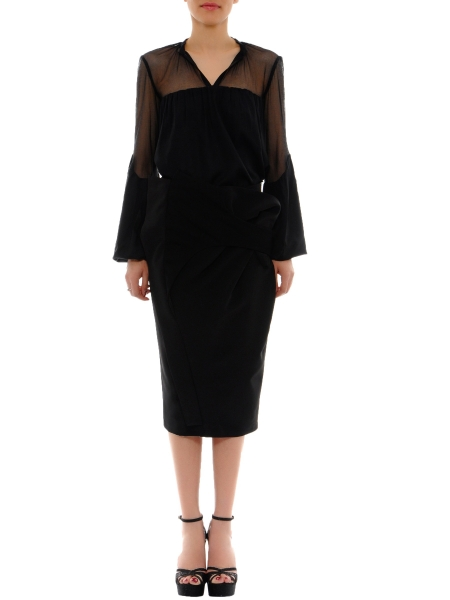 Black Pencil Skirt with Front Panels