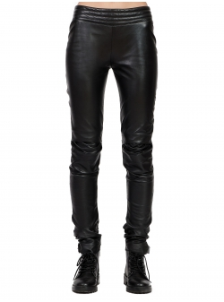 Black Natural Leather Trousers with Back Zip