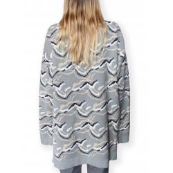 Pulover gri din jacquard tricotat