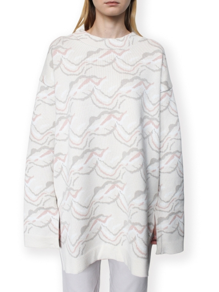 Pulover tricotat din jacquard bej Constantine - Renakossy