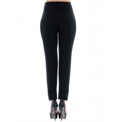 Pantaloni negri din viscoza cu pliuri Florentina Giol
