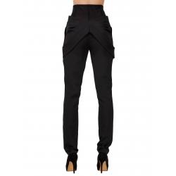 Pantaloni cu talie inalta si insertii de tulle Florentina Giol