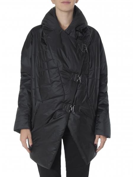 Jacheta neagra din fas cu buzunare