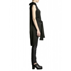 Camasa neagra cu cordon si guler supradimensionat