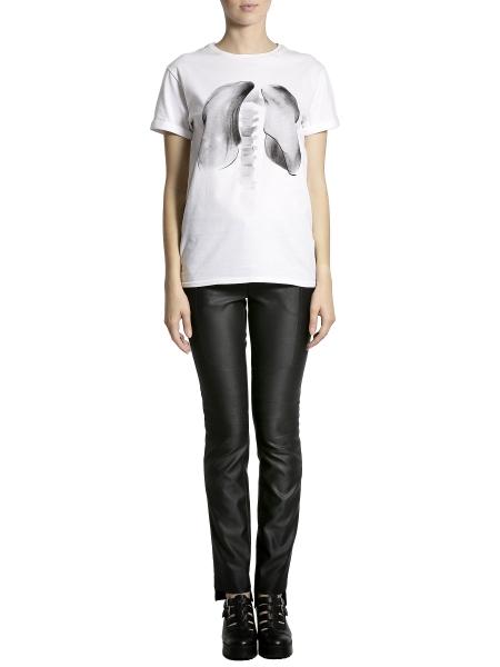 Tricou alb din bumbac cu imprimeu Larisa Dragna