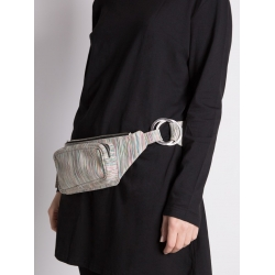 Natural Leather Striped Waist Bag
