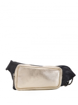 Natural Leather Gold Waist Bag