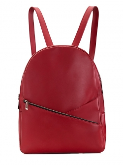 Natural Leather Red Backpack