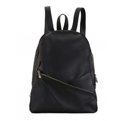 Natural Leather Black Backpack