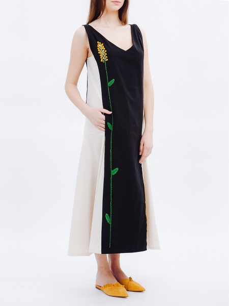 Black Maxi Dress with Handmade Embroidery