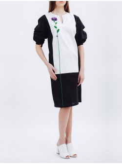 Black & White Dress with Handmade Embroidery