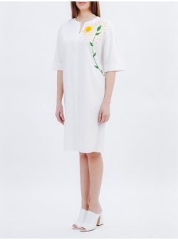 White Dress with Handmade Dandelion Embroidery