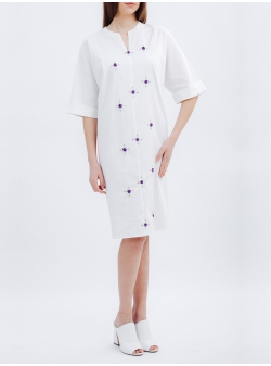 White Dress with Handmade Embroidery