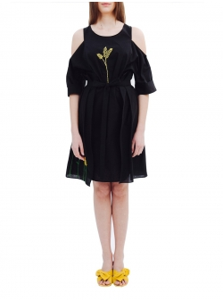 Black Dress and Skirt Set with Handmade Embroidery