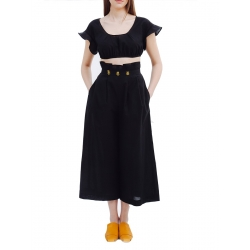 Set crop top si pantaloni din bumbac